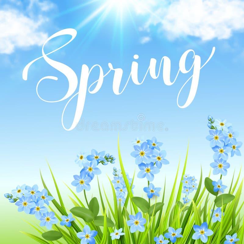 Blauwe bloemen en groen gras royalty-vrije illustratie