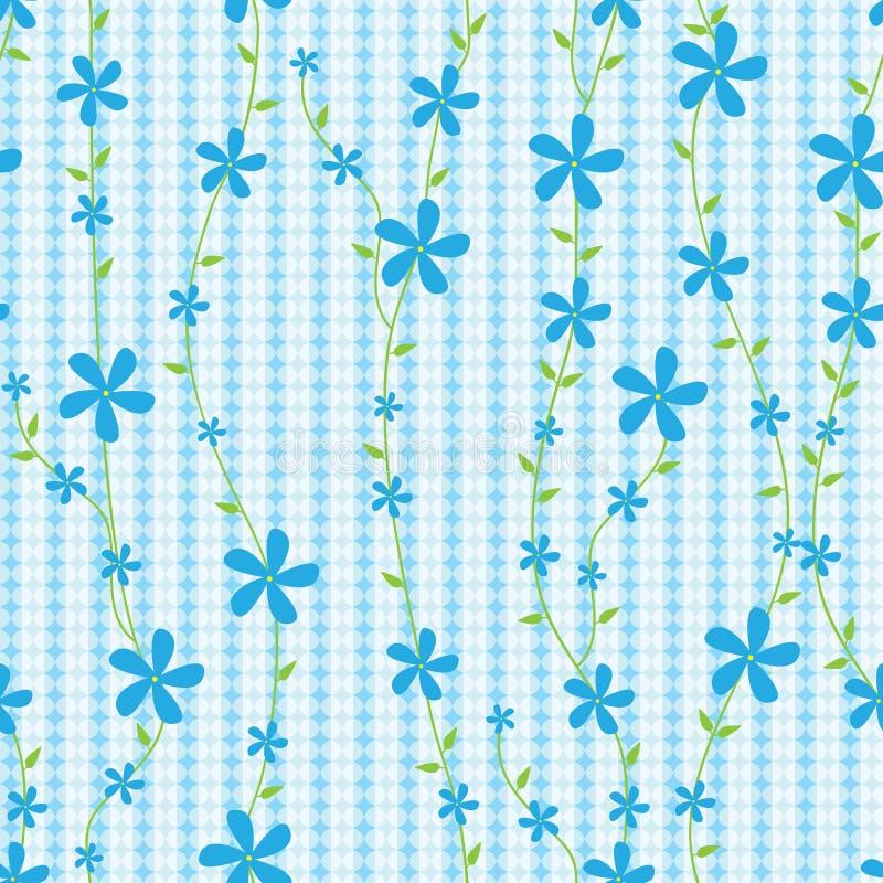 Blauwe Bloemen en Lijnen Naadloze Pattern_eps stock illustratie