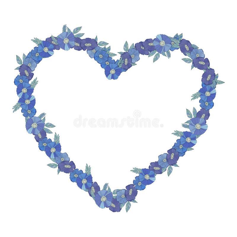 Blauwe bloemendiegrens met wildflowers wordt gemaakt royalty-vrije illustratie