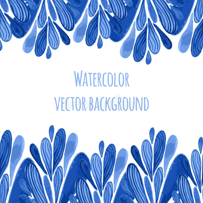 Blauwe bloemengrens in Rus of de stijl van Holland Vectormalplaatje met waterverfdecoratie Kan voor groetkaart, banner worden geb vector illustratie