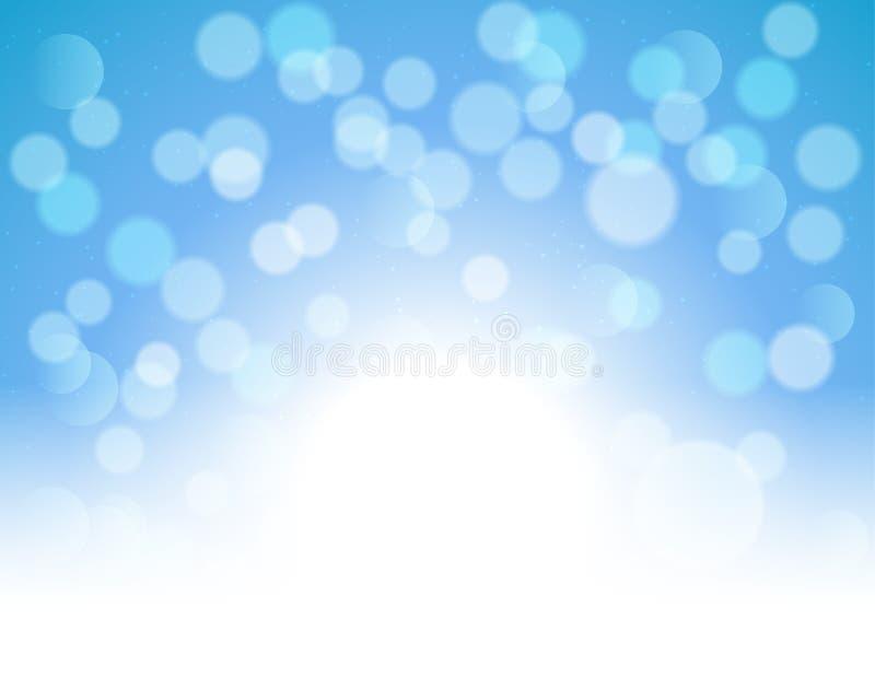 Blauwe bokeh abstracte feestelijke achtergrond Het gouden Kerstmislicht glanst heldere vakantie magische decoratie stock illustratie