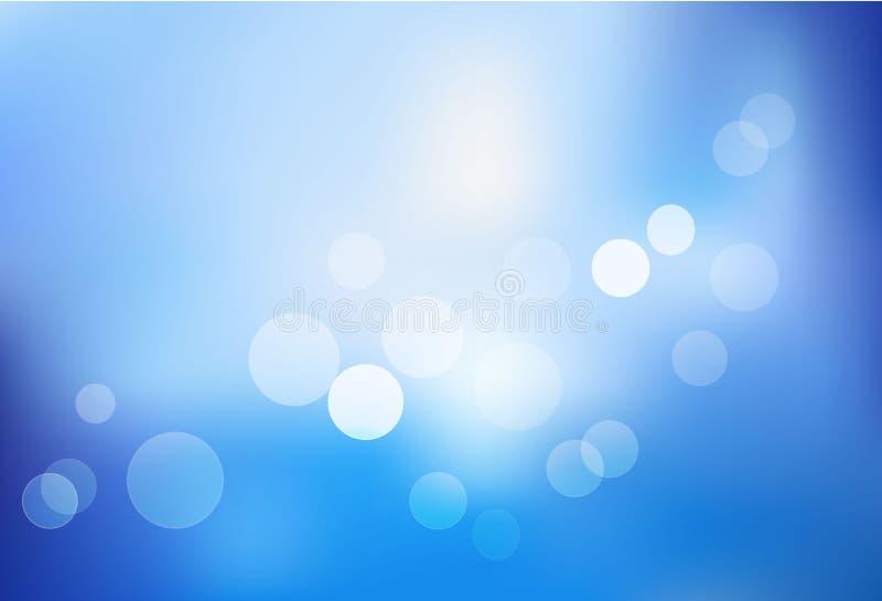 Blauwe bokeh abstracte lichte achtergrond. Vector royalty-vrije illustratie