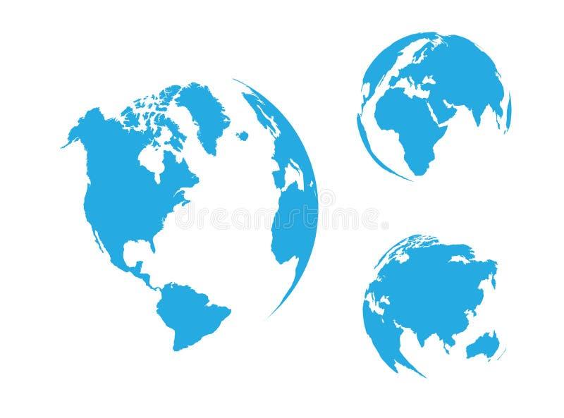 Blauwe bol van de Wereld, vector illustratie