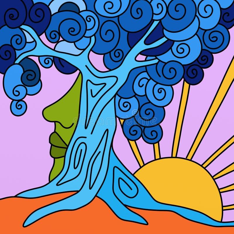 Blauwe boom en zon stock illustratie