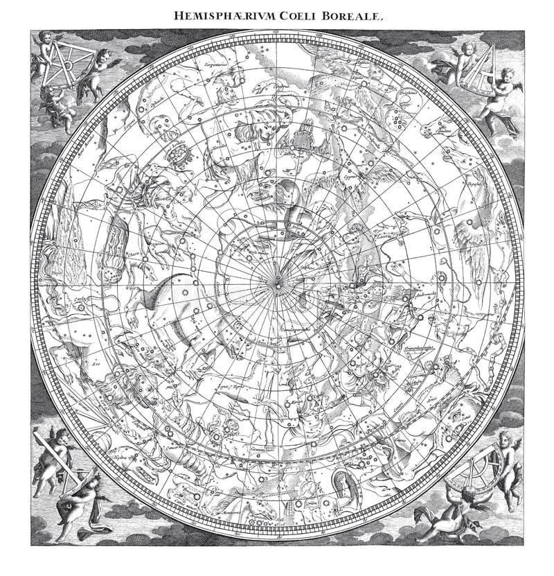 Blauwe Boreale Constellatiesillustratie stock illustratie
