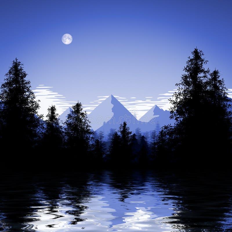blauwe bosmeerillustratie royalty-vrije illustratie