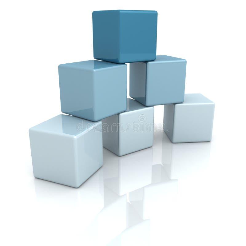 Blauwe bouwstenen of kubussen op witte achtergrond vector illustratie