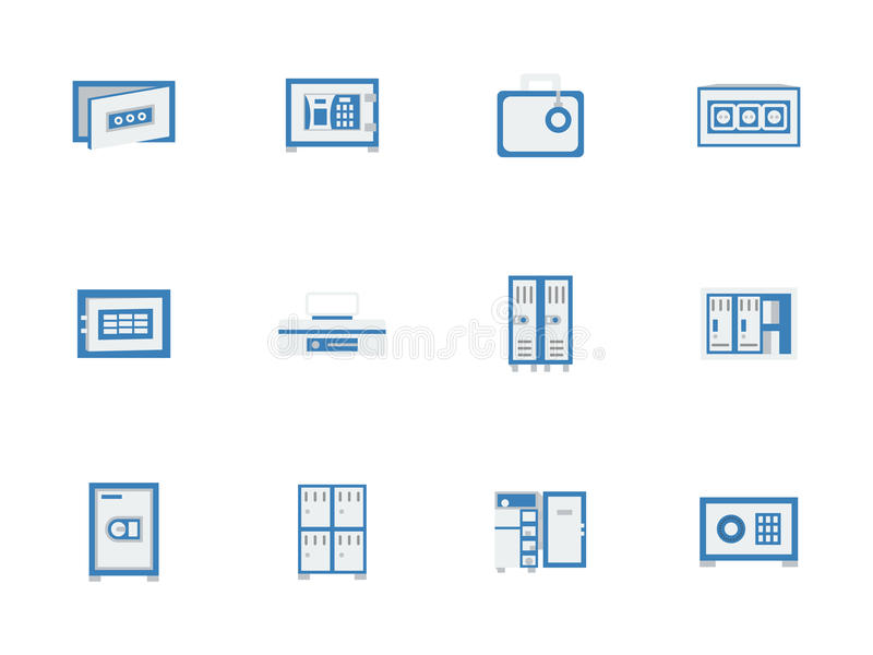 Blauwe brandkasten en kasten vlakke pictogrammen royalty-vrije illustratie