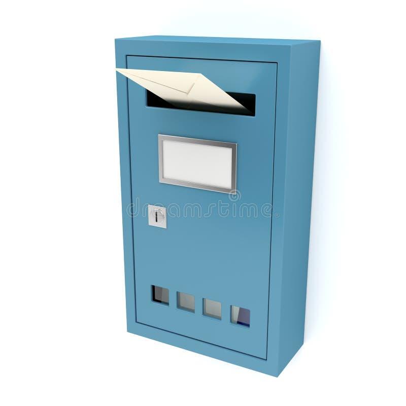 Blauwe brievenbus stock illustratie