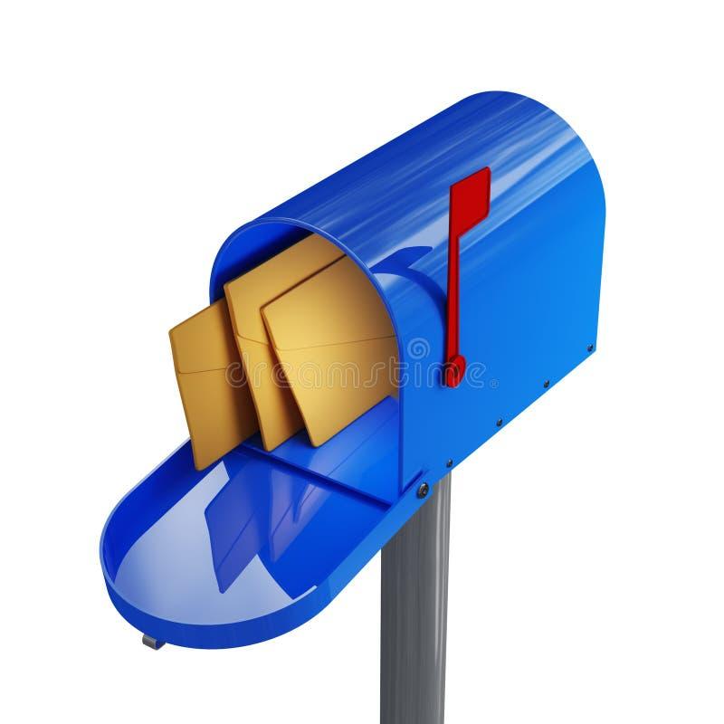 Blauwe brievenbus vector illustratie