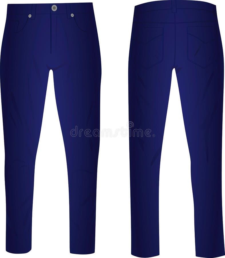 Blauwe broek voor en achtermening vector illustratie