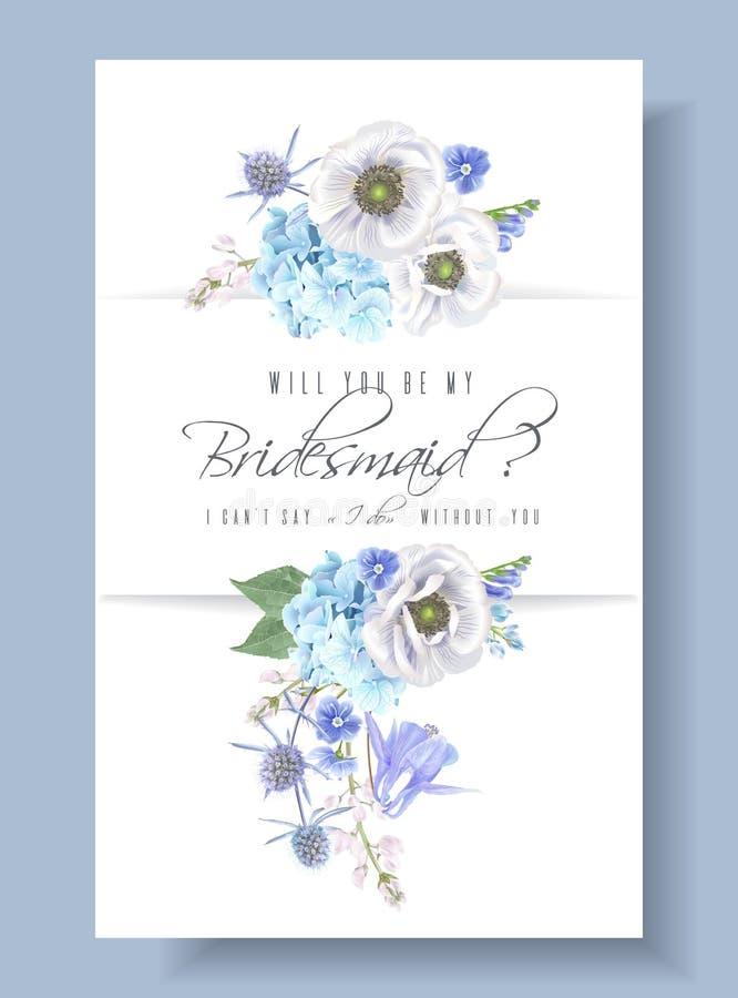 Blauwe bruidsmeisjekaart vector illustratie