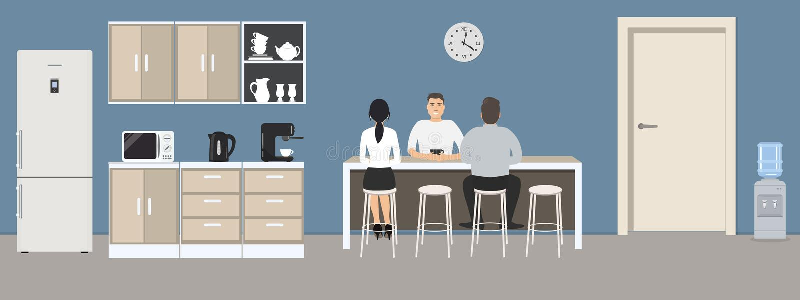 Blauwe bureaukeuken Eetkamer in het bureau royalty-vrije illustratie