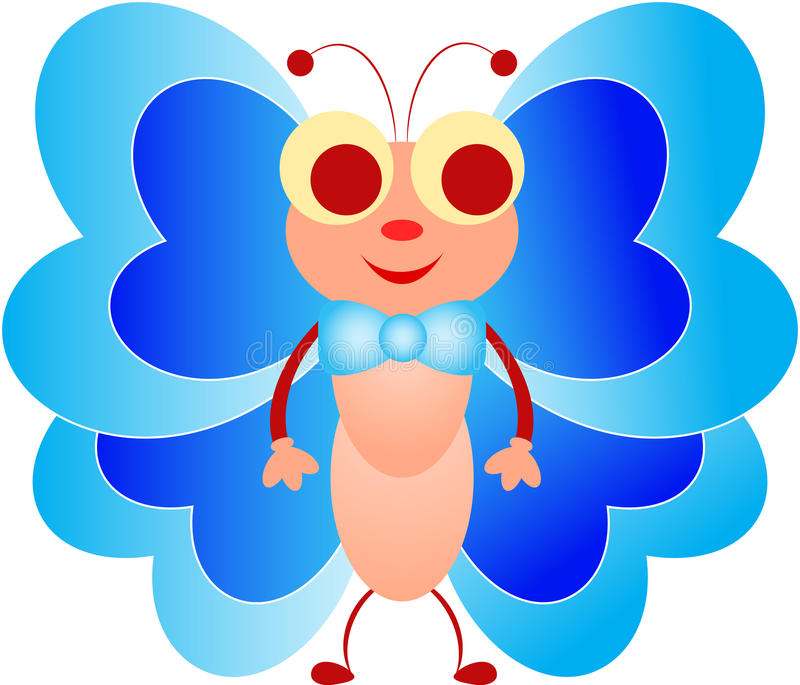 Blauwe butteflyillustratie, Insectillustratie, Beeldverhaalinsect royalty-vrije illustratie
