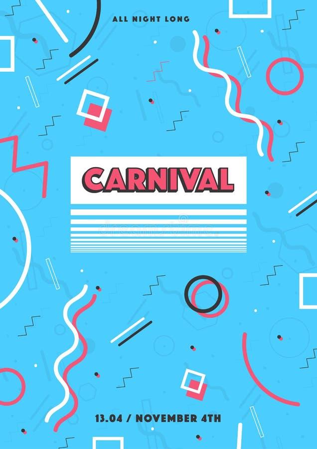 Blauwe Carnaval-affiche de abstracte jaren '80 van Memphis, retro achtergrond van de jaren '90stijl met plaats voor tekst royalty-vrije illustratie