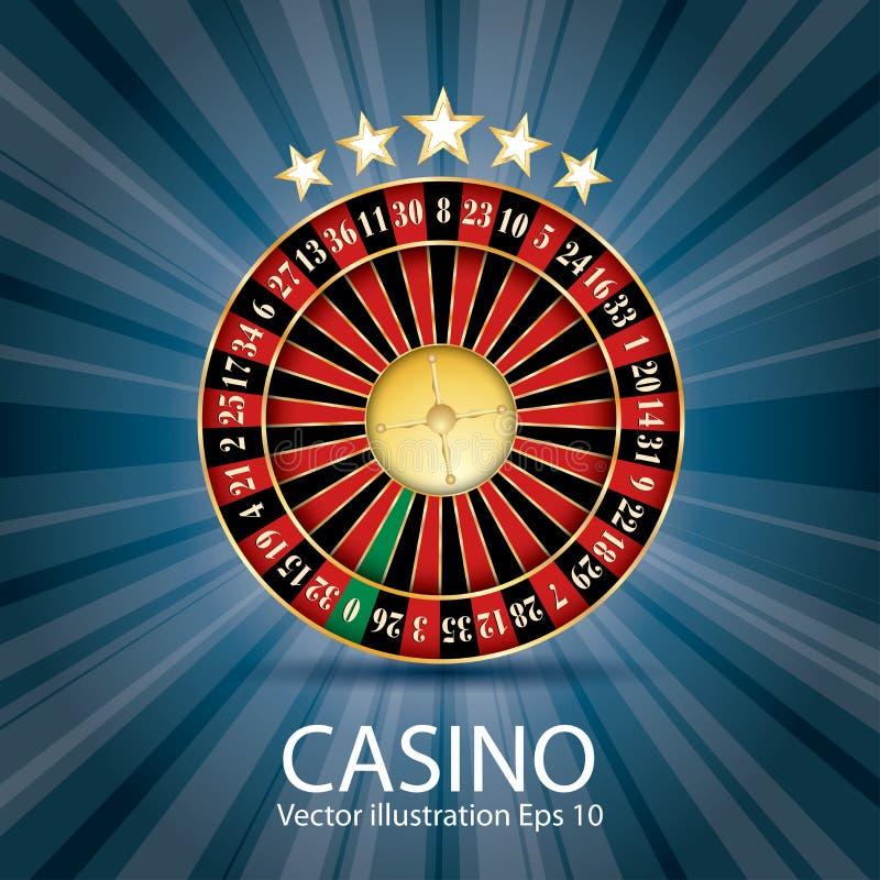Blauwe casinoroulette stock illustratie
