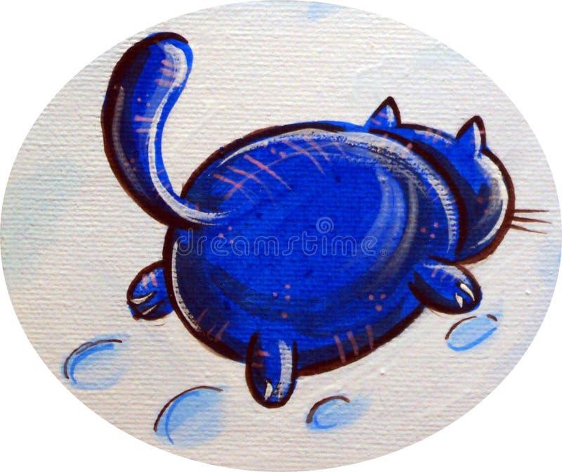 Blauwe Cat In The Snow stock afbeeldingen