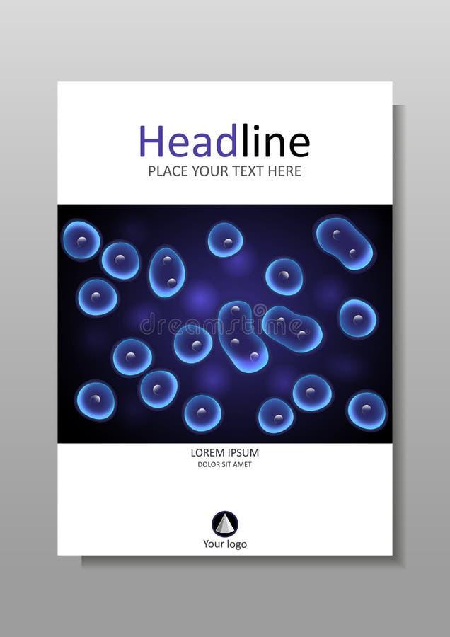 Blauwe celcultuur met ontwerp van de kern het vectordekking stock illustratie