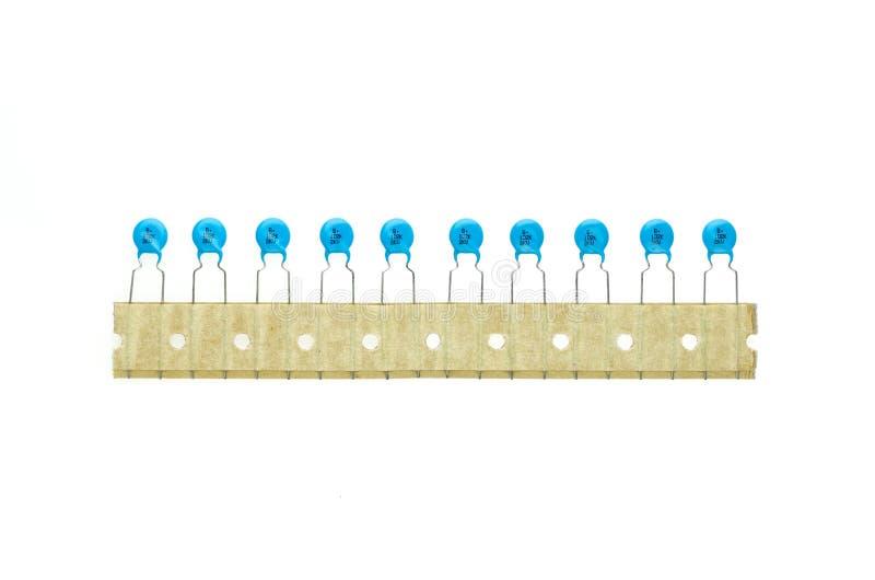 Blauwe ceramische Condensatorpartij royalty-vrije stock foto's