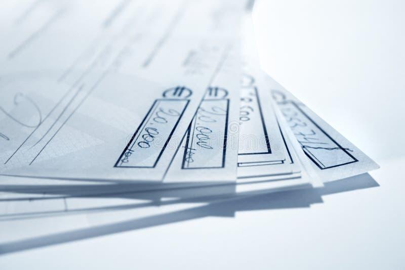 Blauwe cheques stock foto