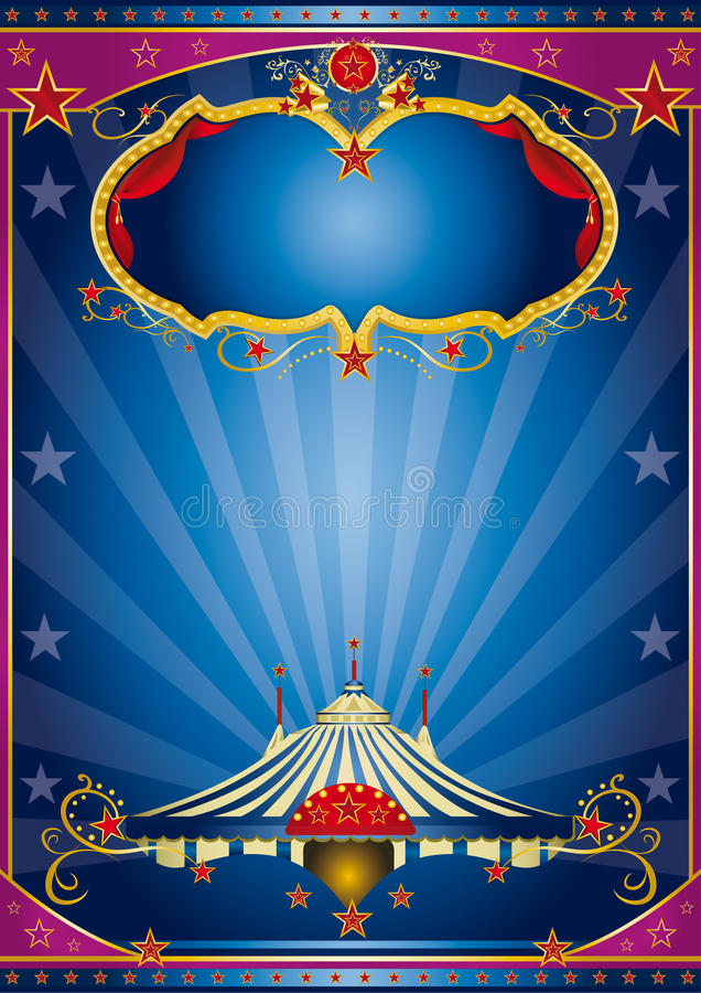 Blauwe circusnacht vector illustratie