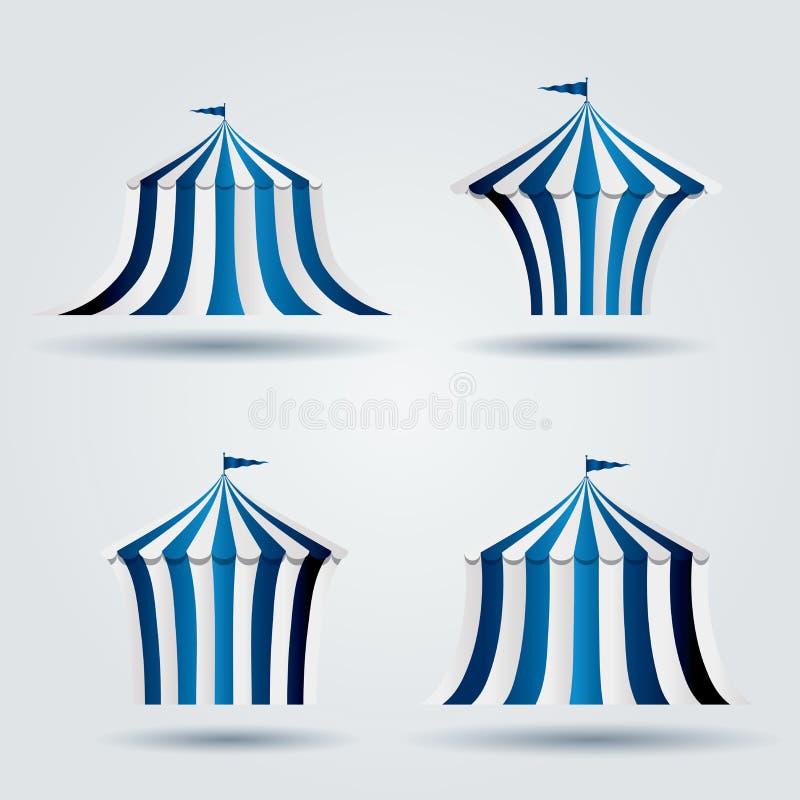 Blauwe circustenten royalty-vrije illustratie