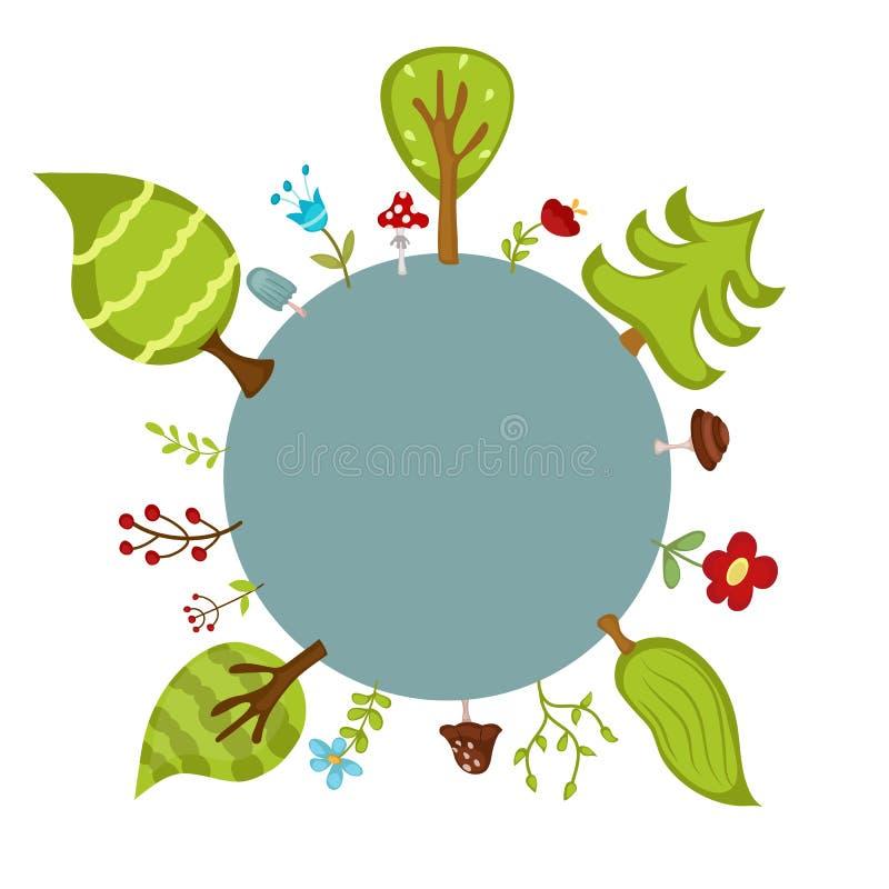 Blauwe cirkel en bosbomen vector illustratie