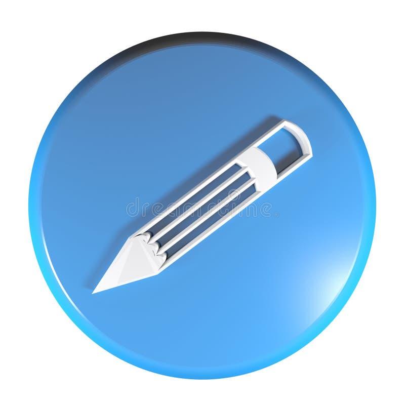 Blauwe cirkeldrukknop met potloodpictogram - 3D teruggevende illustratie vector illustratie