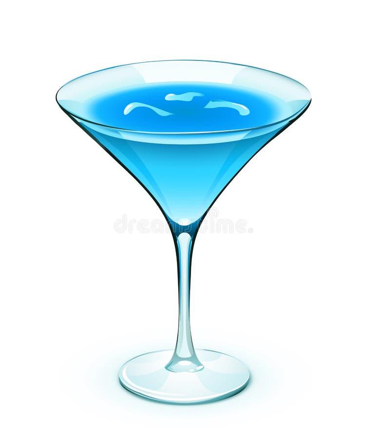 Blauwe cocktail stock illustratie