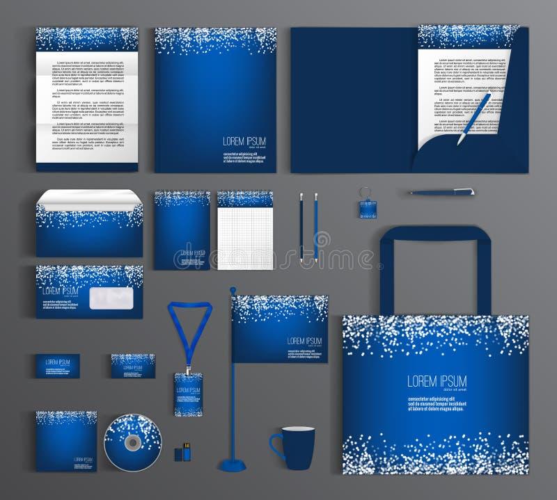 Blauwe collectieve identiteit Reeks met een patroon van witte cirkels vector illustratie