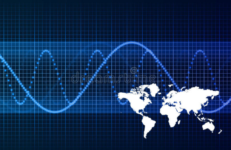 Blauwe Collectieve Uitbreiding Wereldwijd stock illustratie