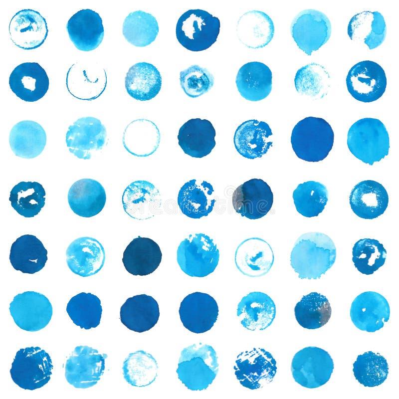 Blauwe cyaandiecirkels met ronde met de hand gemaakte inktzegels worden gecreeerd stock afbeelding