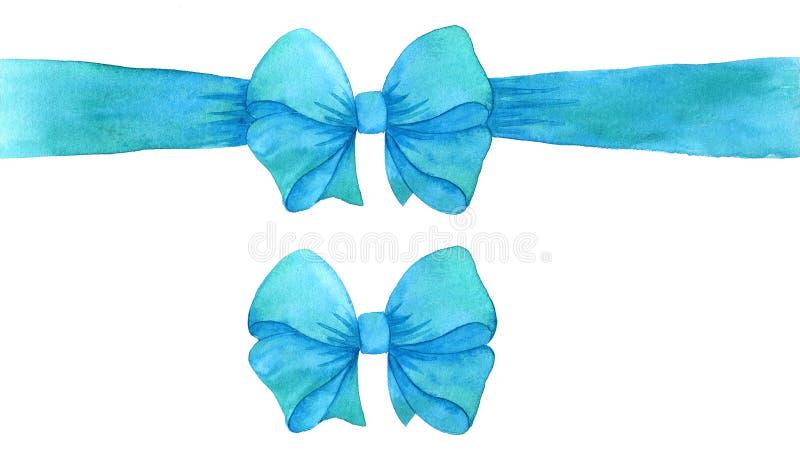Blauwe cyaangiftboog waterverf turkoois boog en lint Illustratie op witte achtergrond royalty-vrije illustratie