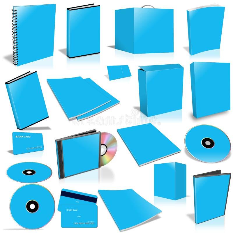 Blauwe 3d lege dekkingsinzameling royalty-vrije illustratie