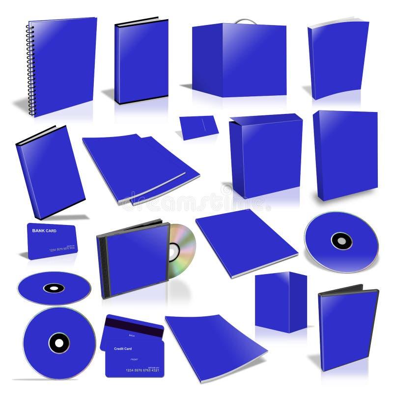 Blauwe 3d lege dekkingsinzameling stock illustratie