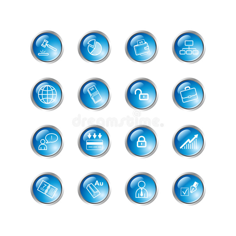Blauwe dalings bedrijfspictogrammen stock illustratie