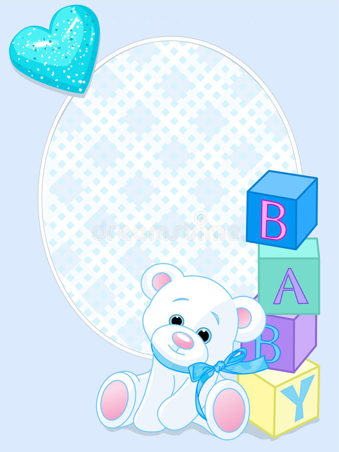 Blauwe de aankomstkaart van de baby royalty-vrije illustratie