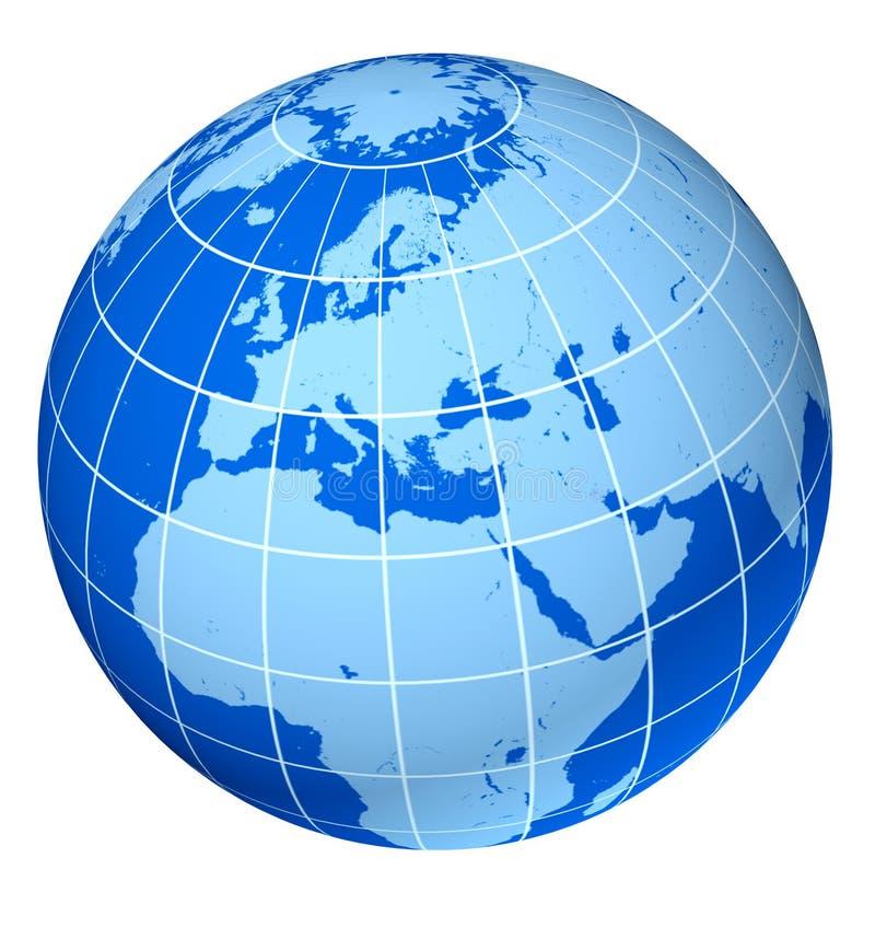 Blauwe de aardebol van Europa stock illustratie