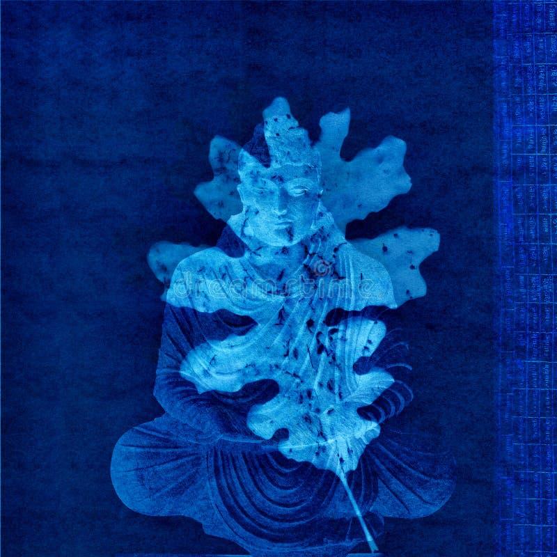 Blauwe de Aardmeditatie van Boedha royalty-vrije stock afbeeldingen