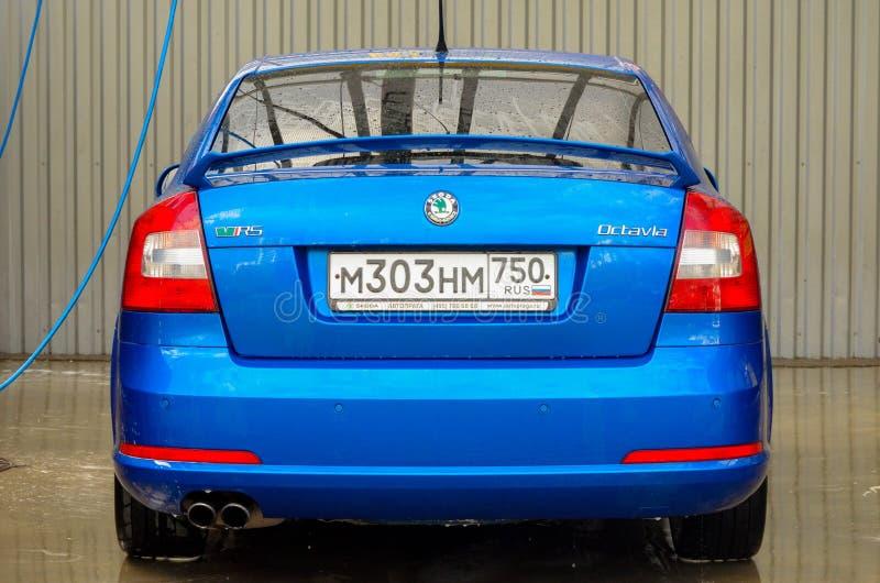 blauwe de auto buble bek van skodaoctavia rs royalty-vrije stock foto's