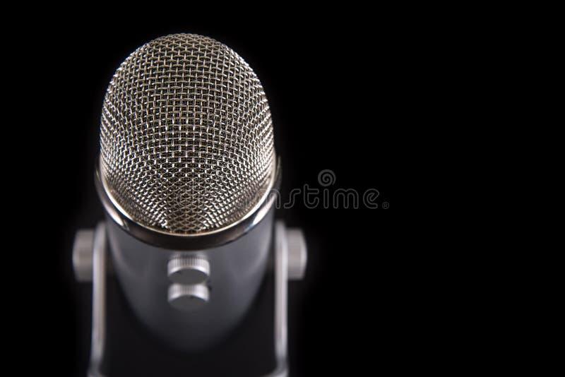 Blauwe de Condensatormicrofoon van Yetipodcast royalty-vrije stock afbeelding