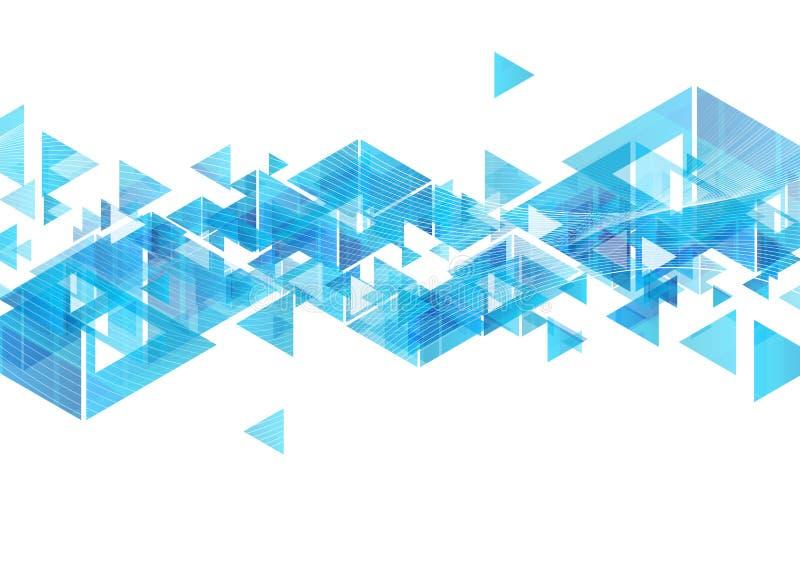 Blauwe de driehoeken en de golven abstracte achtergrond van technologie royalty-vrije illustratie