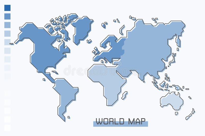 Blauwe de gradiëntkleur van de wereldkaart met het moderne eenvoudige ontwerp van de beeldverhaallijn stock illustratie