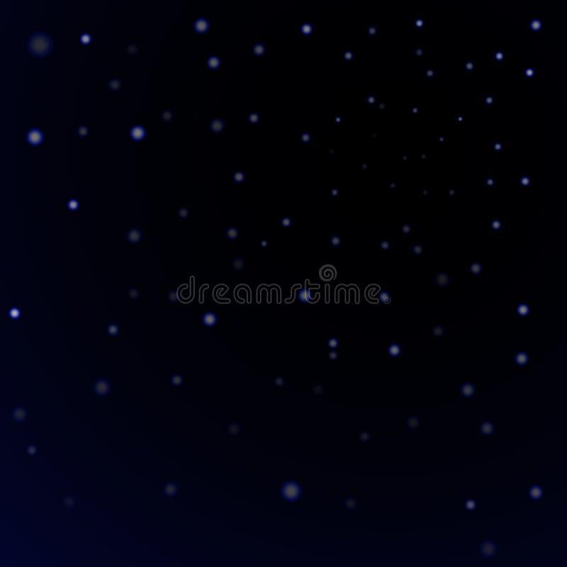 Blauwe de hemelachtergrond van de sterren zwarte nacht Het abstracte licht schittert Fantasiefonkelingen Glans Kerstmistextuur, m royalty-vrije illustratie