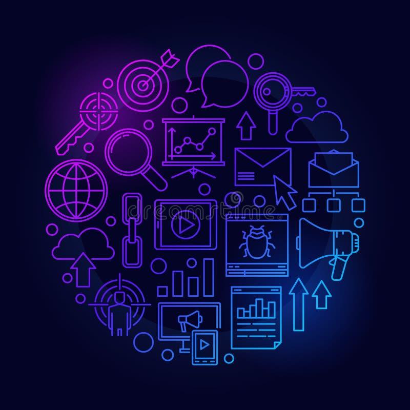 Blauwe de marketing van SEO en Internet-illustratie stock illustratie