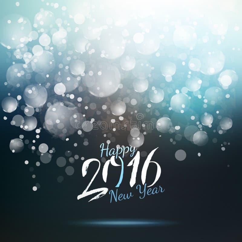 Blauwe de nachtkaart van het kalligrafie nieuwe 2016 jaar royalty-vrije illustratie
