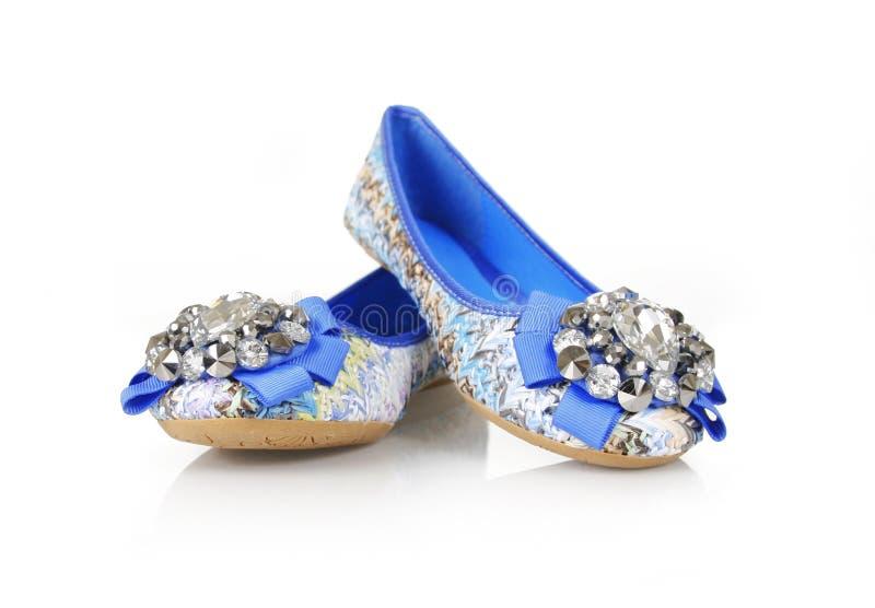 Blauwe de vlaktenschoenen van Jeweled stock afbeeldingen