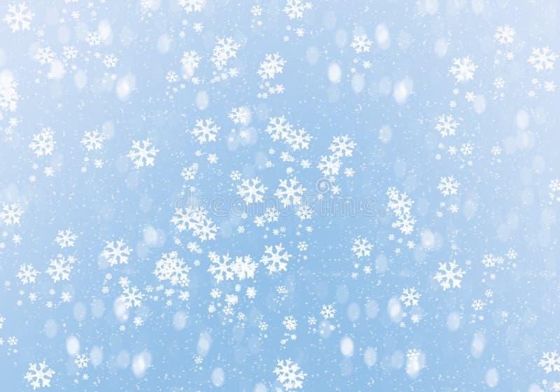 Blauwe de winterachtergrond met sneeuwvlokken royalty-vrije stock afbeelding