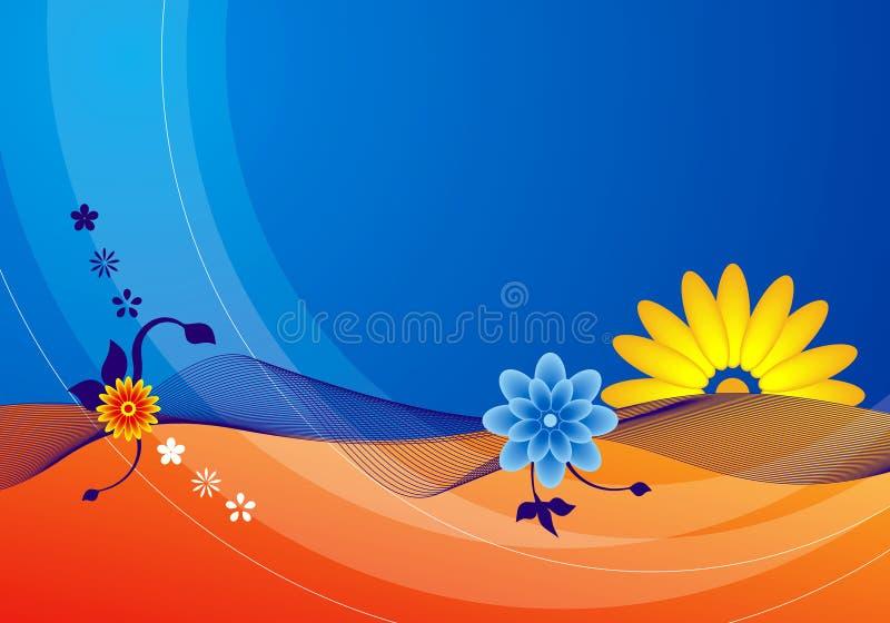 Blauwe de zomerbloemen stock illustratie