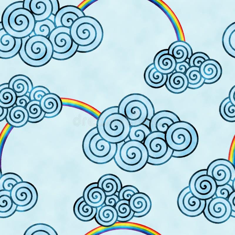 Blauwe decoratieve clounds en de regenbogen watercolored achtergrondpatroon vector illustratie